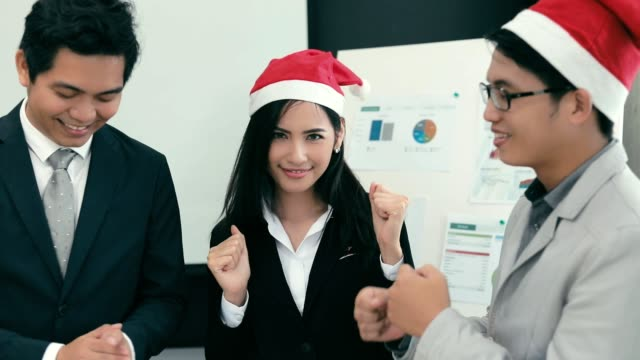 Team Business asian dancing in office , slow motion video