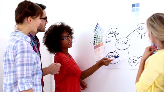 Équipe de designers travaillant ensemble sur un plan - Vidéo