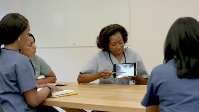 hastanın tıbbi röntgenini inceleyen doktor ekibi - cerrahi önlük stok videoları ve detay görüntü çekimi