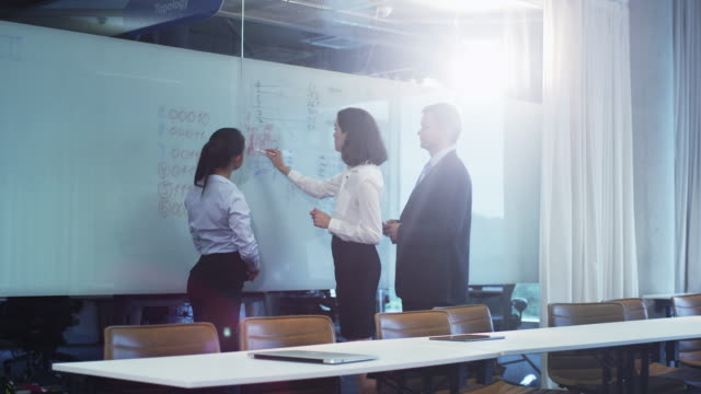 stockvideo's en b-roll-footage met team van kantoorpersoneel hebben gesprek in de buurt van glazen whiteboard - visuele hulpmiddelen