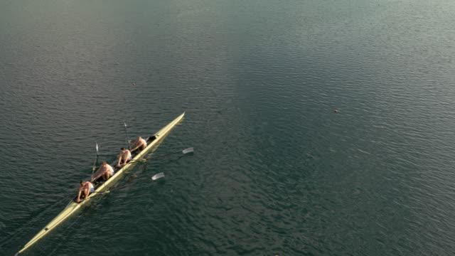 vídeos de stock, filmes e b-roll de equipe aérea de remadores deslizando sobre um lago em um quatro sem masculino em um dia ensolarado - remo esporte aquático