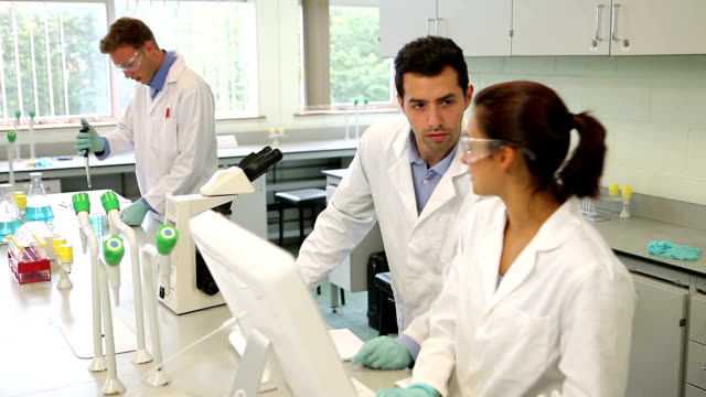 Team of science students working together in the lab video