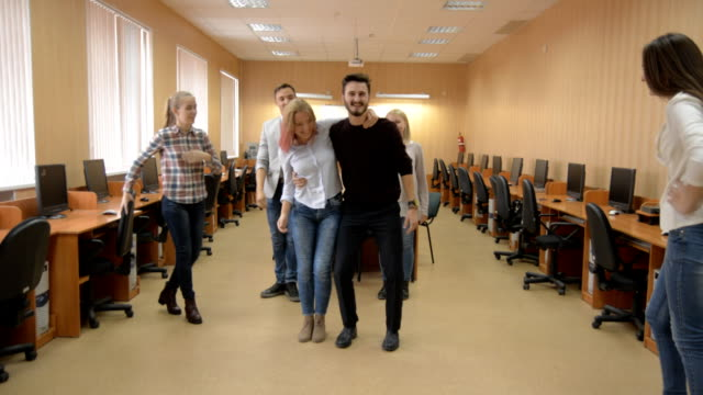 Team of young people learns the dance. video
