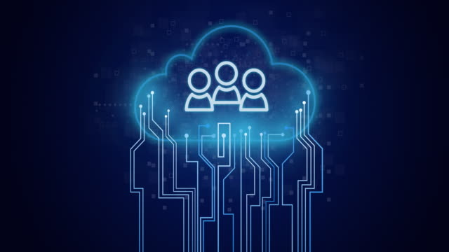 Team or group icon on circuit and cloud composition.