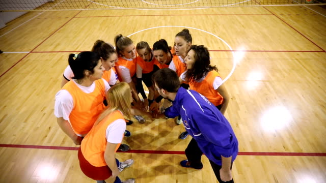 Team work wins the game Young male coach with glasses and  female volleyball team  stacking hands volleyball sport stock videos & royalty-free footage