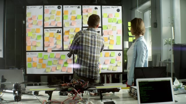 team working on a project. startup company - post it video stock e b–roll
