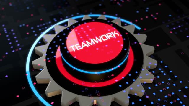 Teamwork as button gear metaphor video animation