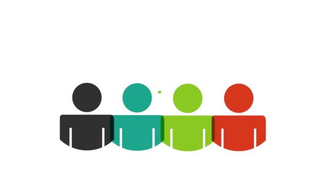 vídeos de stock, filmes e b-roll de ícone do trabalho em equipe de projeto, animação de vídeo - clipe