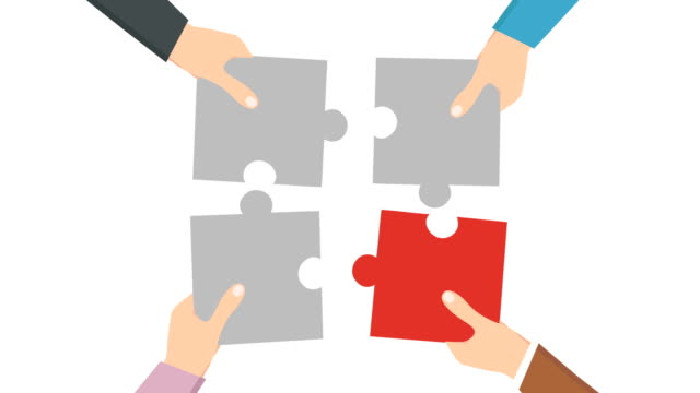 Teamwork,  Puzzle hand 4K animation, Businessman Hands Connecting Jigsaw Puzzle, Luma matte.