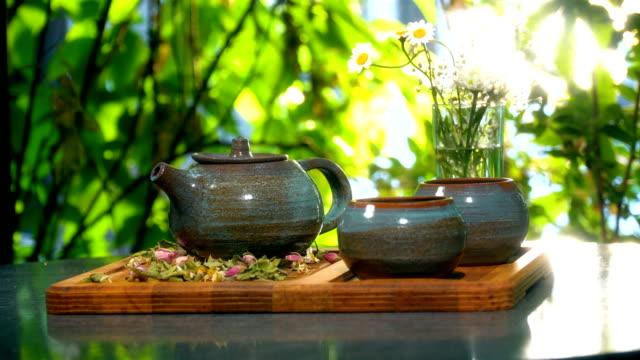 Teapot and Tea Cups Outdoors