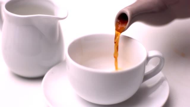 茶のティーポットカップに注ぐ - ソーサー点の映像素材/bロール