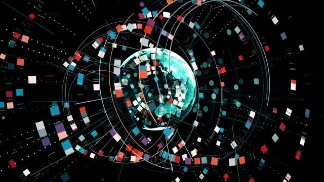 tech-hintergrund aus vielen formen linien und globus - ewigkeit stock-videos und b-roll-filmmaterial