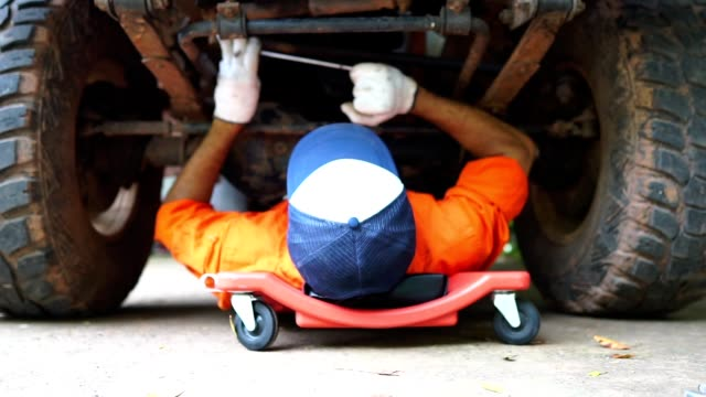 Technicians are working by doing a preliminary inspection of wheel system