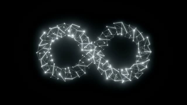 techno web in form of infinity symbol seamless loop 3d render animation - infinito video stock e b–roll