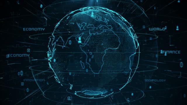 vídeos de stock e filmes b-roll de technologic earth 4k - circular economy