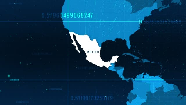 Technologic Mexico Map 4K stock video