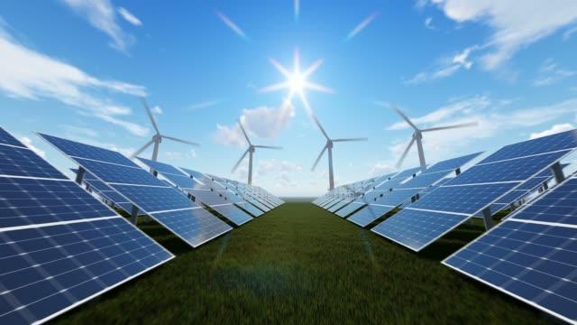 Technologic Wind Farm And Solar Panels