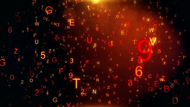 Technological background with flying letters and figures - video
