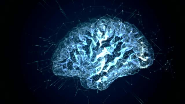 vídeos de stock, filmes e b-roll de cérebro tecnológico - holograma