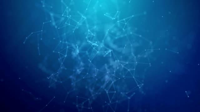 połączenie technologiczne futurystyczny kształt, niebieska sieć kropki, abstrakcyjne tło - mikrobiologia filmów i materiałów b-roll