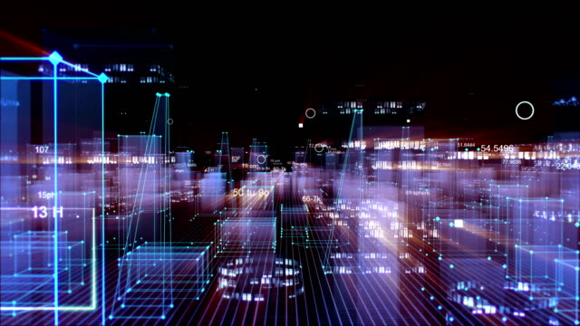 Technological digital background consisting of a futuristic city with data. looped