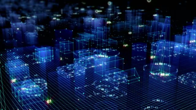 vídeos y material grabado en eventos de stock de fondo digital tecnológico consistente en una ciudad futurista con los datos. bucle - placa madre