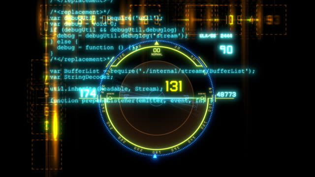 HUD technological intro.Flying through digital HUD target in sci fi cyber space.Techno background.Futuristic interface with running code text.