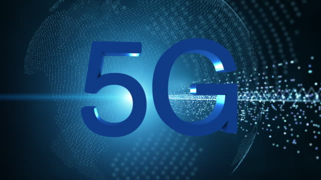 5G technology, advanced technology communication, 5th generation of technology communication.The world is spinning. - vídeo