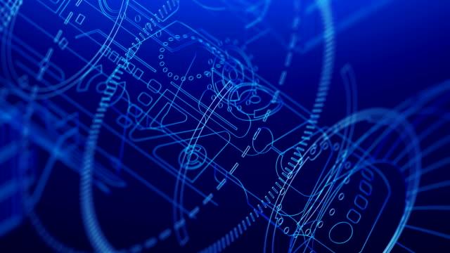 technologie animierte hintergrund. telekommunikationssatelliten fliegen im blauen raum. - ingenieurwesen stock-videos und b-roll-filmmaterial