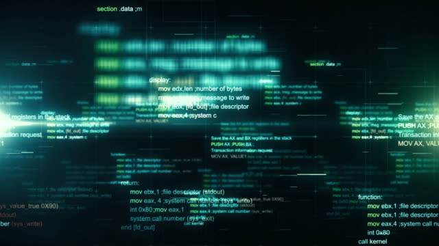 Technology background with abstract digital code motion. Seamless loop.