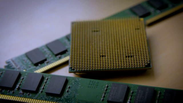 Technology background with computer processor CPU concept, circuit board texture video