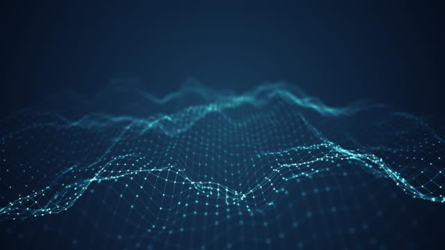 vídeos de stock, filmes e b-roll de tecnologia digital conceito de fundo de onda. - infographic