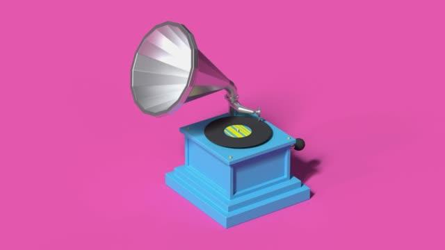 vidéos et rushes de technologie de divertissement vinyle lecteur de musique style dessin animé 3d rendu - un seul objet