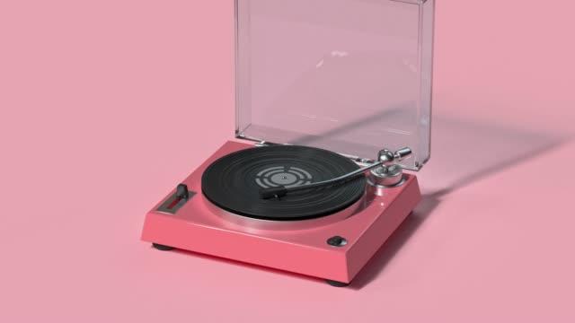 Video technology entertainment vinyl music player cartoon style 3d rendering