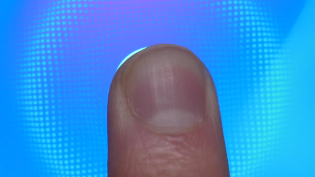 technology finger print password. scanning fingerprint for security purpose on smartphone. cyber security personal device. man using cell phone with application for scanning fingerprint. - замок средство безопасности стоковые видео и кадры b-roll