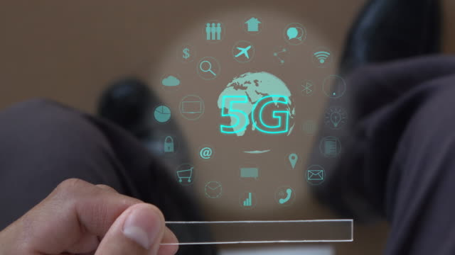 5G technology in smart phone. Futuristic technology in hand.