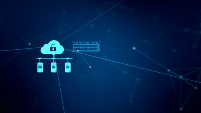 Technology network and data connection. Secure data network and personal information. Cyber security concept