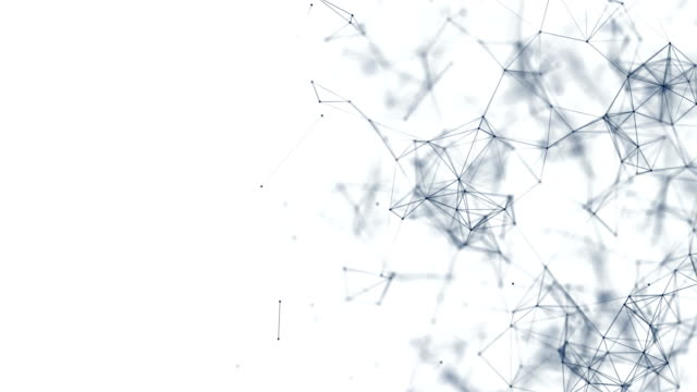 Technology network background. Abstract connected dots and lines on white background. Communication and technology network concept with moving lines and dots. wire mesh stock videos & royalty-free footage
