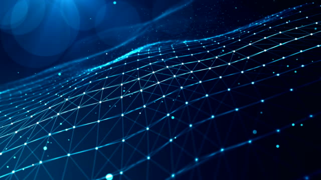 Technology Network Background. Abstract Plexus Blue Geometrical Shapes. Connection And Web Concept. Digital, Communication And Technology Network Background With Moving Lines And Dots. wire mesh stock videos & royalty-free footage