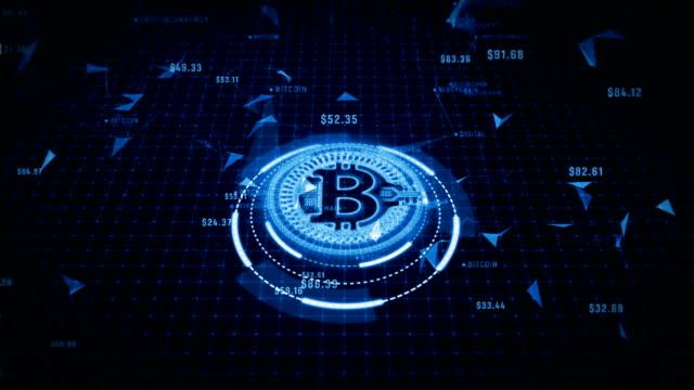 技術ネットワーク、世界中の接続。デジタル サイバー スペースでビットコイン cryptocurrency - 鎖の輪点の映像素材/bロール