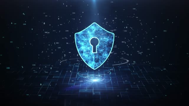 Technology Security Concept. Big Data Protection Cyber Security Concept With Shield Icon In Cyber Space.Cyber Attack Protection For Worldwide Connections,Block chain. Digital Big Data Stream Analysis. identity theft stock videos & royalty-free footage