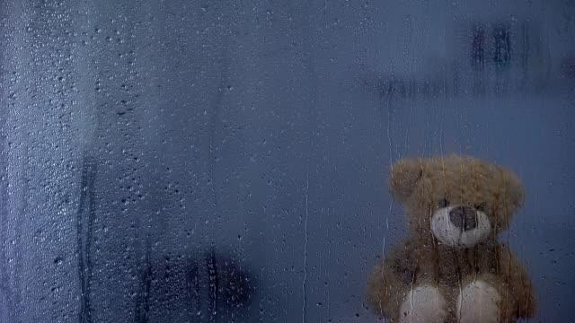 vídeos de stock e filmes b-roll de teddy bear on sill behind rainy window in orphanage, hope and support symbol - teddy bear