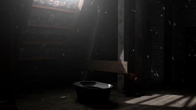 teddy bär sitzt an der verlassenen dachgeschoss im lichtstrahl - dachboden stock-videos und b-roll-filmmaterial