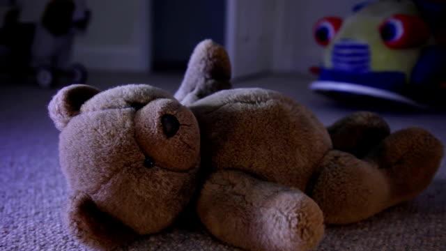 Teddy on the floor at night.