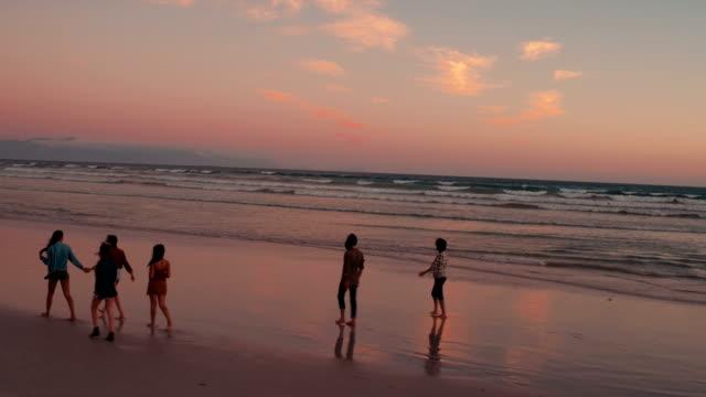 Teen friends enjoying a walk at beach on sunset video