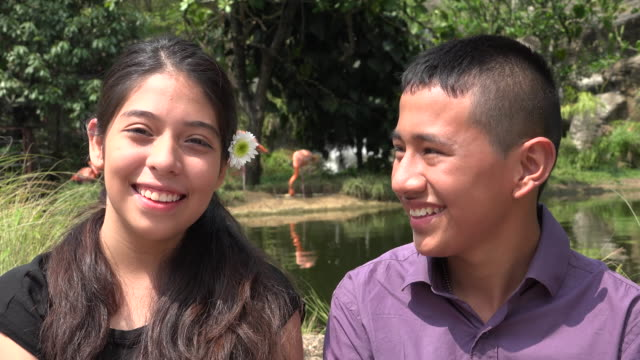 Teen Friends Smiling Together at Zoo video