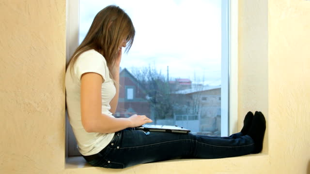 Teen Girl With Digital Tablet And Smartphone video