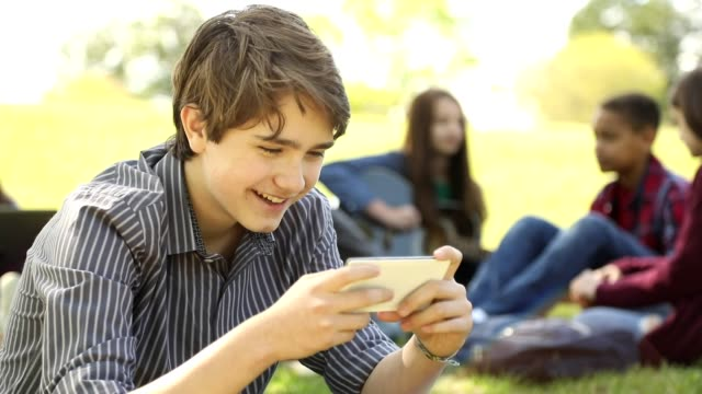 Teenage boy uses cell phone in park or school campus.