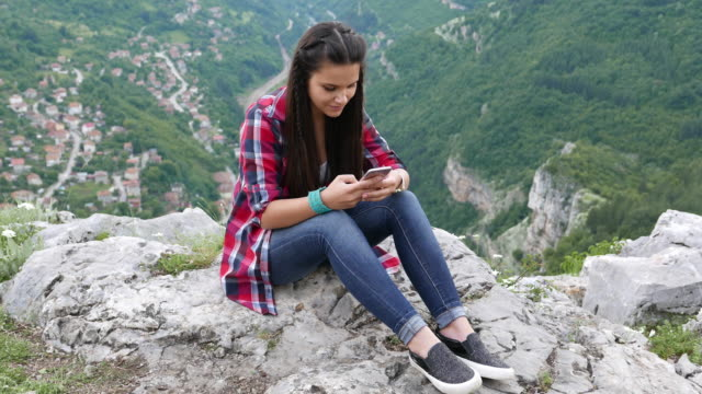 Teenage girl among nature video
