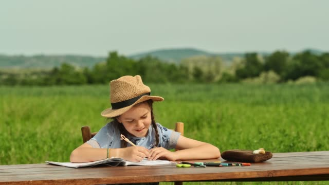 Teenage Girl Doing Homework Sitting at a Desk in a Field. Video Online Learning Outside video